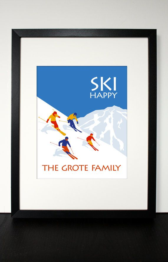 "SKI HAPPY - ski house print - customizable family name, mountain, number of skiers, colors - winter art - 5"" x 7"", 8"" x 10"", or 11"" x 14"""