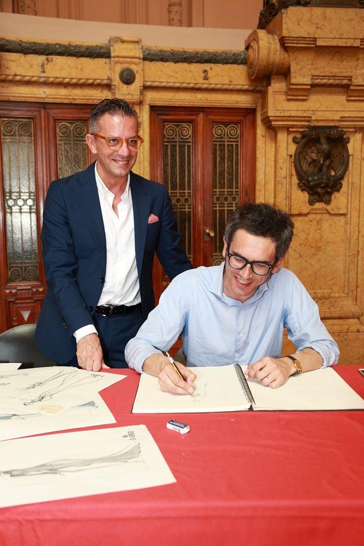 Juri Michelucci, consigliere regionale con Giuseppe D'Urso stilista dell'omonimo atelier spezzino. Foto: Mauro Fioravanti - La Spezia