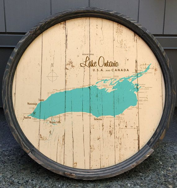 """We work with a sign maker in Bigfork, Montana to put our vintage-inspired maps on these cool barrel ends! The signs are 23"""" diameter, and made from"""