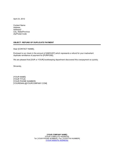refund duplicate payment template amp sample form biztree tenant security deposit letter with