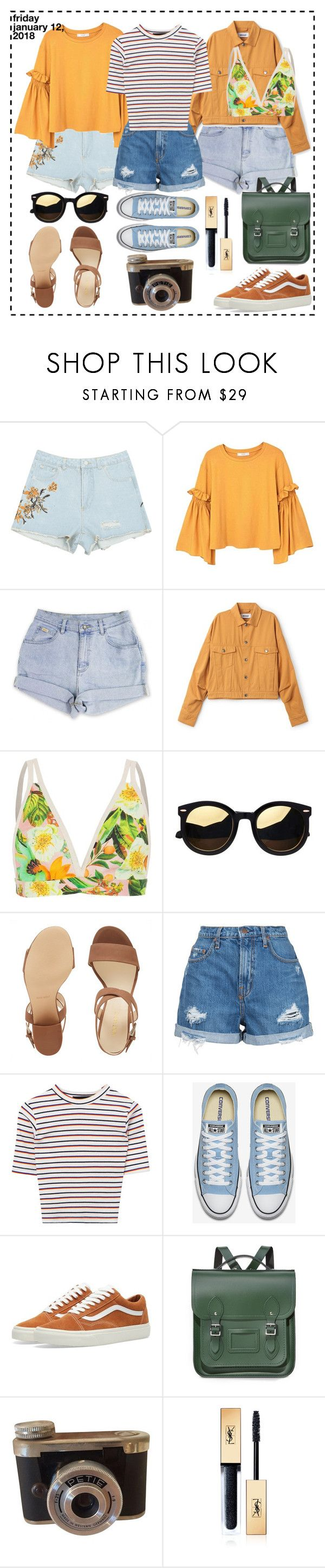 """""""friday. january 12, 2018"""" by andreabrooklynn ❤ liked on Polyvore featuring MANGO, Nine West, Nobody Denim, Vans, The Cambridge Satchel Company and Yves Saint Laurent"""
