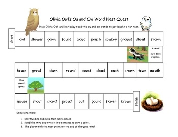 Your students will have a great time helping Olivia Owl read the ou and ow words to get back to her nest.  Students roll the dice and read the word...
