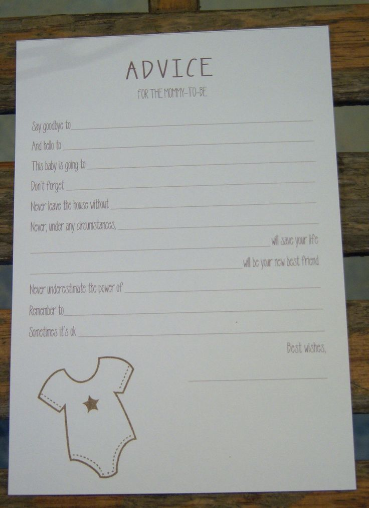 Baby Shower Games - Advice for Mommy-to-Be Cards - Set of 10 - Star Onesie - Gender Neutral (Brown)
