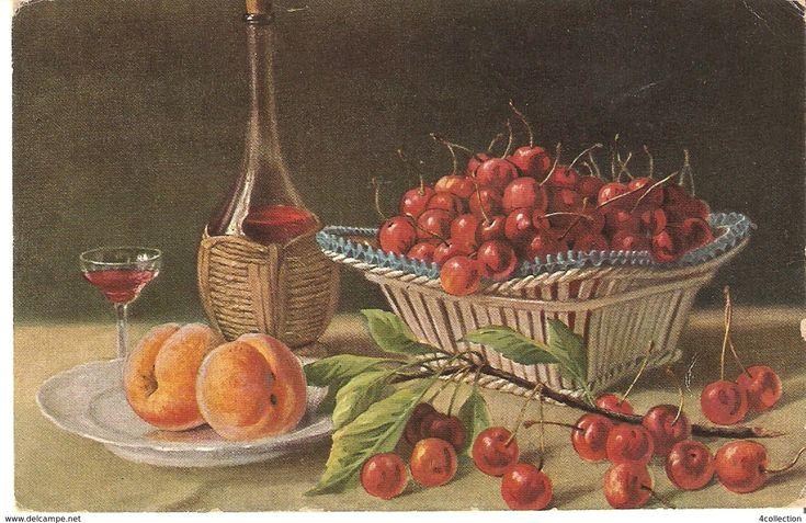 Litho O.G.Z.-L. OGZL - ART Painting postcard Still life Cherry Apricot Wine posted Sweden in 1925 Sverige 10 ore stamp