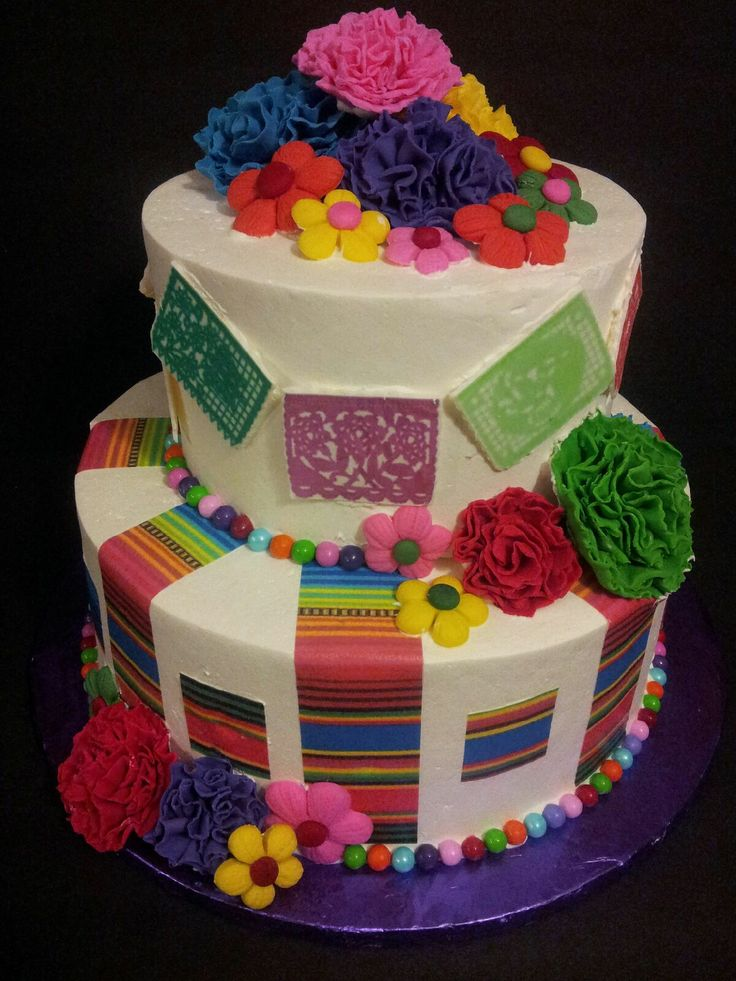 """Fiesta Cake! - 8"""" and 12"""" rounds covered in Pastry Pride. Flowers and Papel Picado are gumpaste. Sarape stripes were printed on edible paper"""