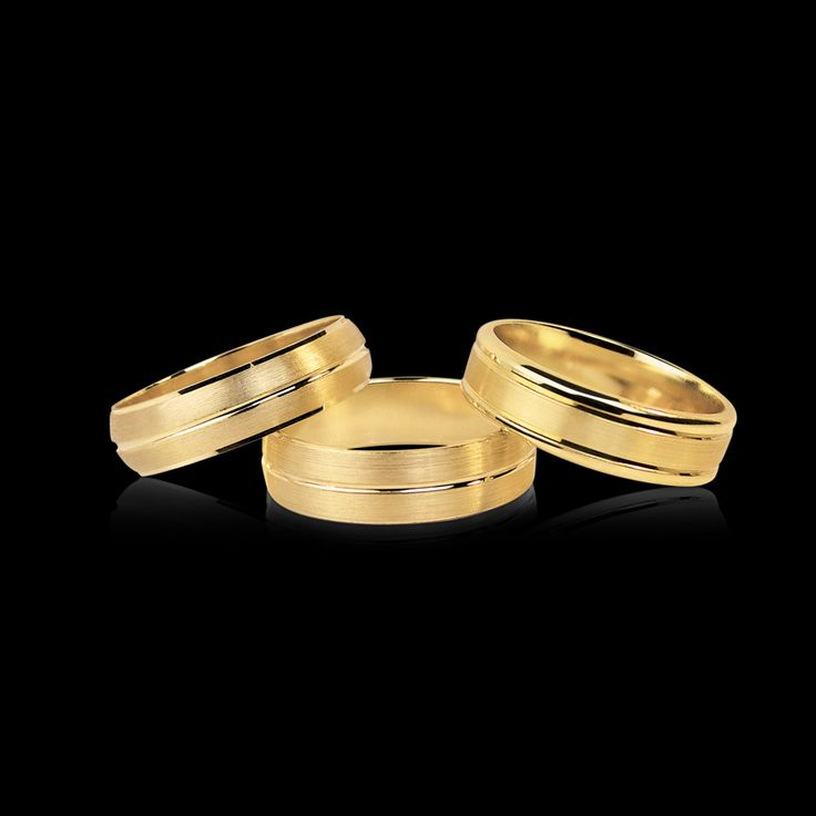Yellow gold Mens bands all polished with a brushed finish for a modern look...
