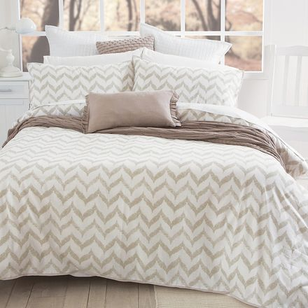 Cremorne Quilt Cover Set. Chevrons still on trend, has some white to break the beige. Can accessories with red  cushion to tie in with the artwork