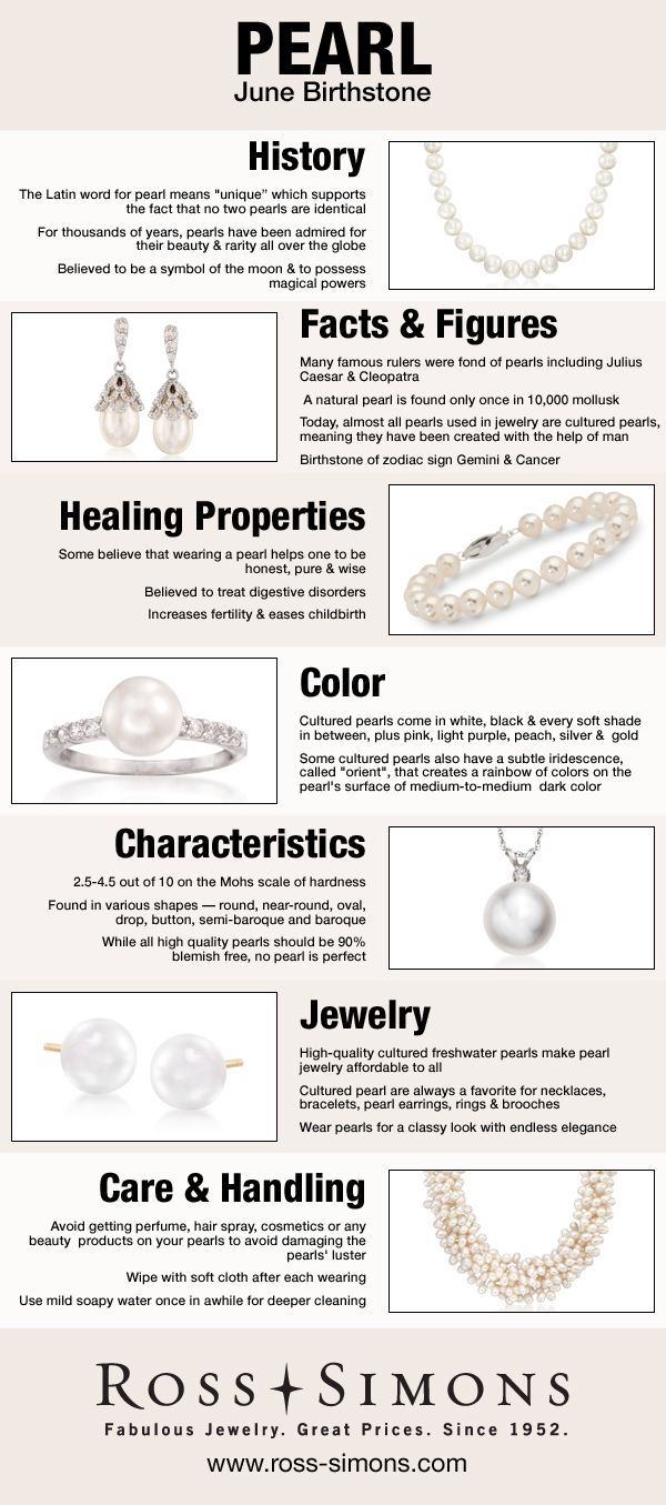 Happy Birthday June Babies! Learn more about your pearl birthstone in this infographic. #RossSimons