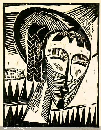Karl Schmidt-Routluff WOMAN FROM KOWNO 1918 woodcut GERMAN EXPRESSIONISM