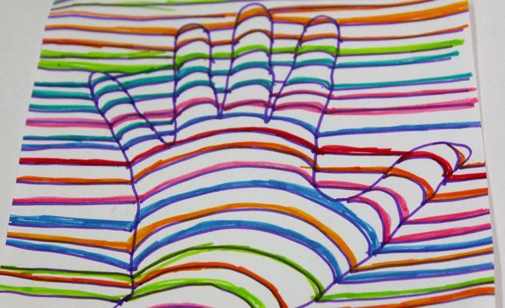 Con la técnica de dibujo de lineas y curvas realizamos una mano que parece hecha en 3D o tres dimensiones por ilusión óptica. Esta es una actividad muy diver...