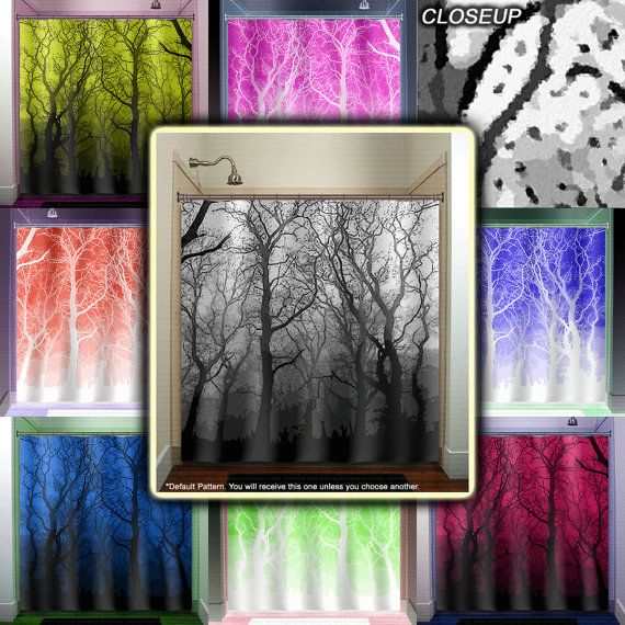 Haunted Forest Winter Gray Red Birch Trees Shower Curtain