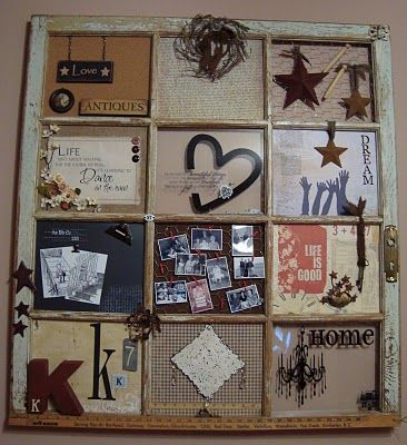how to make a recycled window collage: Wall Art, Old Window Frames, Crafts Ideas, Old Window Panes, Recycled Window, Window Ideas, Old Window Crafts, Old Windows, Wooden Window