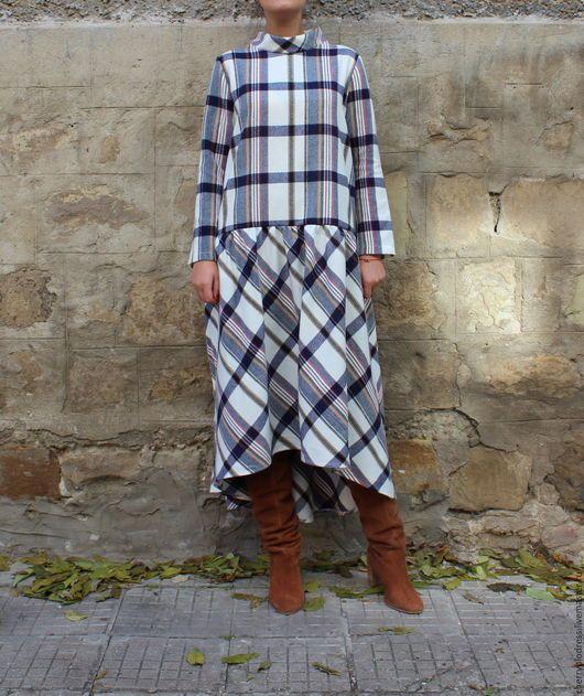 Платья ручной работы. Шотландская клетка элегантное коктейльное миди макси платье с рукавами. CHERRYBLOSSOMSDRESS. Интернет-магазин Ярмарка Мастеров.