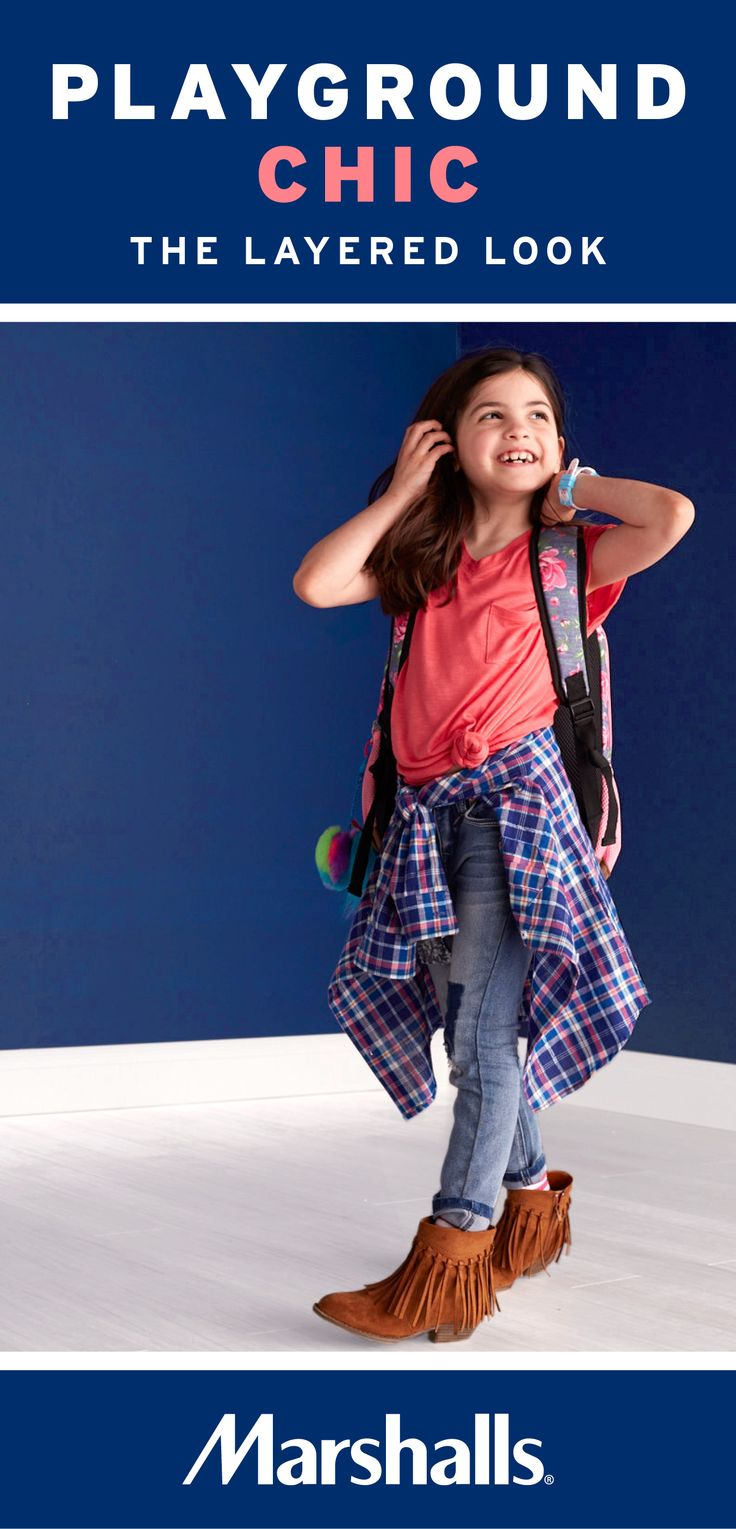 The layered look! Style a coral burnout tee (knotted) with a flannel shirt tied at the waist. Pair with light-wash patchwork denim and a fun floral backpack. Visit your Marshalls today to create her new back to school style!