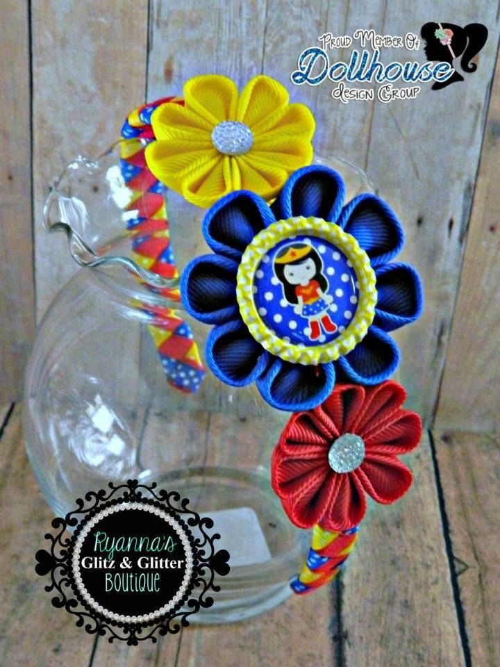 Wonder Woman Kanzashi Headband Heroes Unite  An Auction Style Event Opens 4/15/15 at 5 PM CST Closes at 4/17/15 at 9 PM CST Purchase Here: www.facebook.com/dollhousedesigngroup