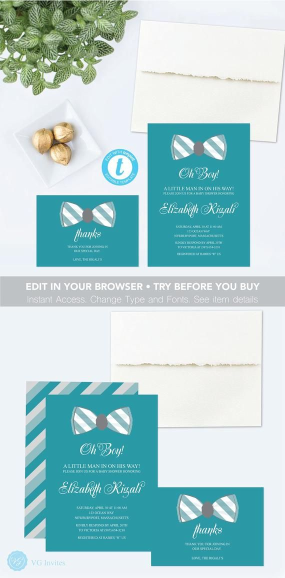 Baby Shower Invitation Boy Printable Edit In Browser Templett Oh