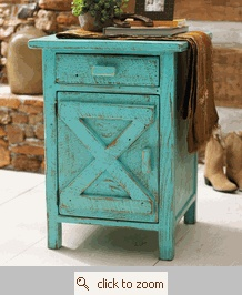 Colorful distressed nightstand