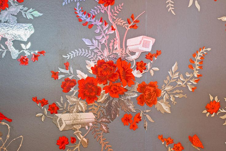SCRATCH AND SNIFF WALLPAPER Detail of Vigilant Floral, 2011 Scent by Carlos Benaim In collaboration with Flavor Paper