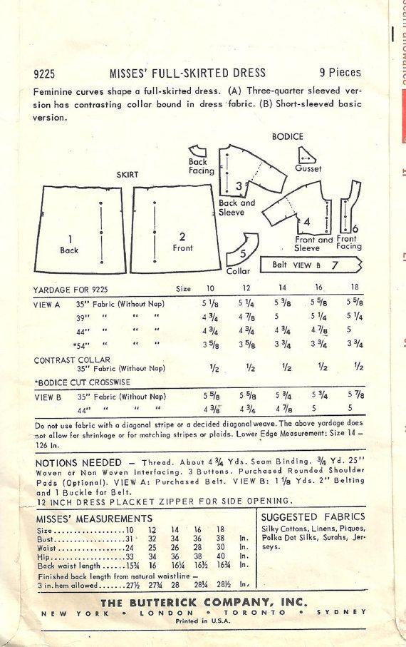 Butterick 9225 / Vintage naaien patroon / door studioGpatterns