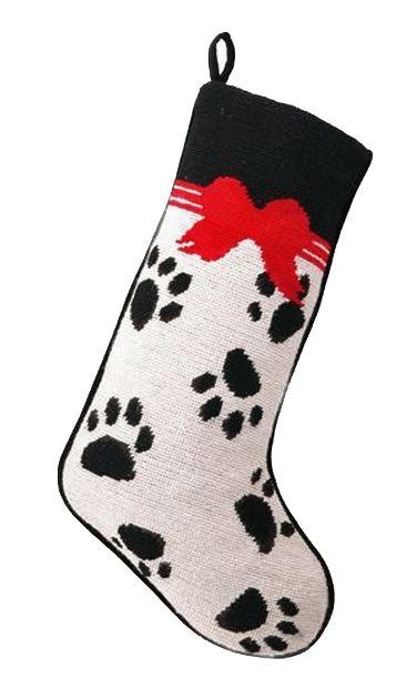 Pet Paw Prints and Bows Festive Needlepoint Christmas Stocking