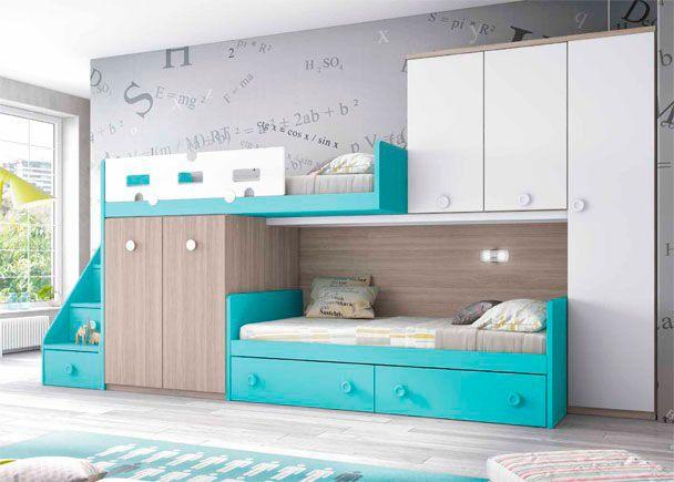 Habitaci n infantil dormitorio infantil con dos camas for Armario habitacion nina