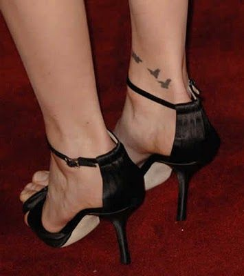 Grey Ink Flying Birds Tattoo On Right Ankle