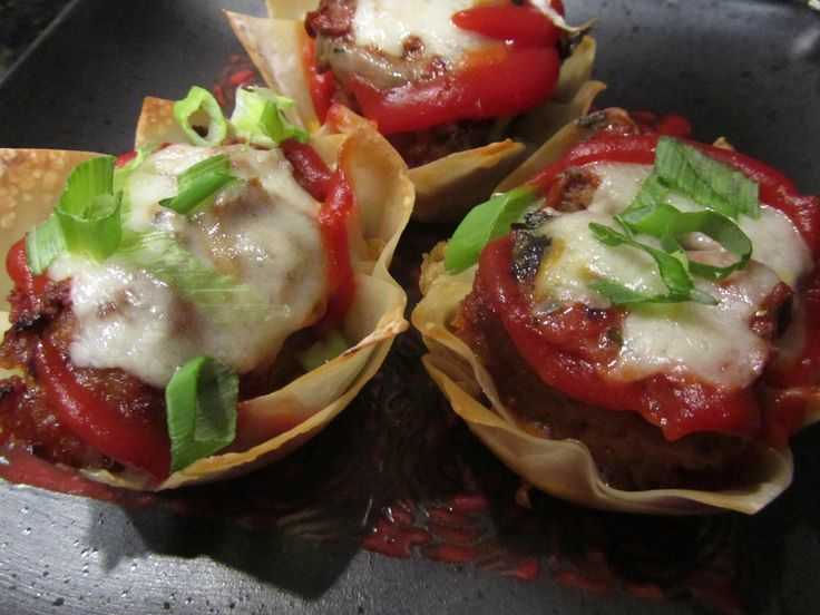 WONTON (this is not your mother's) MINI MEATLOAF CUPS