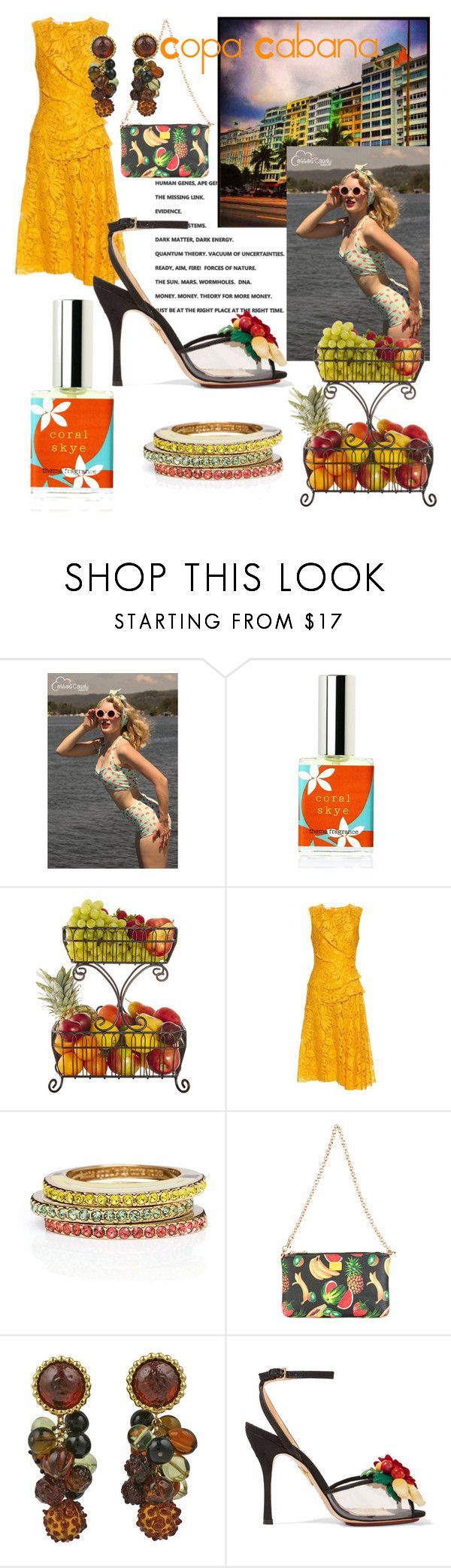 """""""Copa Cabana"""" by mdfletch ❤ liked on Polyvore featuring FRUIT, Mikasa, Oscar de la Renta, Kate Spade, Dolce&Gabbana, DOMINIQUE AURIENTIS, Charlotte Olympia and copacabana"""