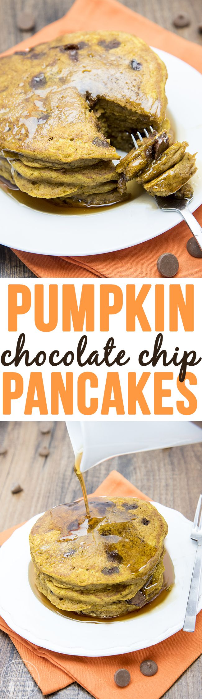 Pumpkin Chocolate Chip Pancakes - This is the perfect recipe for thick and fluffy pumpkin pancakes. The pumpkin pancakes have the perfect flavors of fall stuffed full of chocolate chips. You have to make these for breakfast this fall!