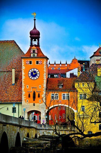 Old Stone Bridge Tower, Regensburg, Germany by carlasisters