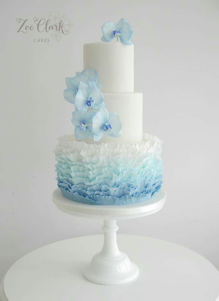 Blue orchids and ruffles cake
