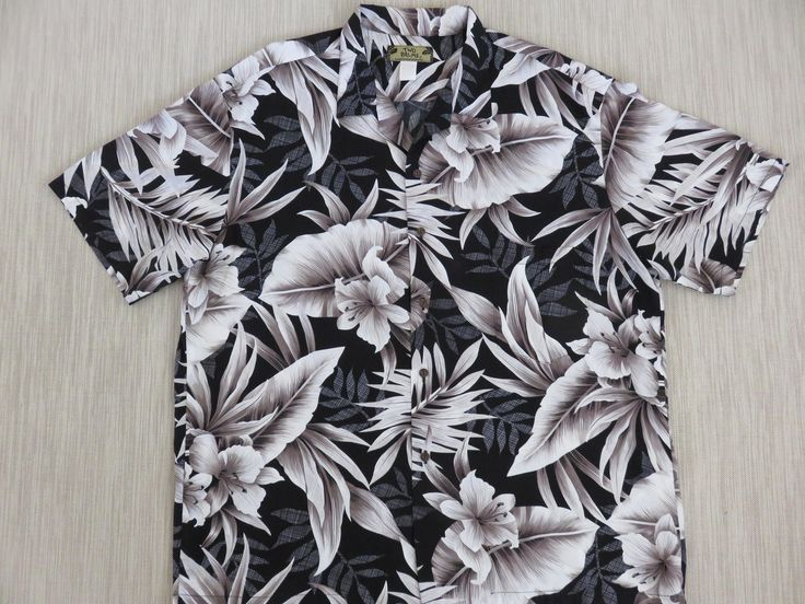 Hawaiian Shirt TWO PALMS Black Vintage Aloha Shirt Lily Philodendron Palm Surfer Resort Casual Wear Mens Camp - 2XL - Oahu Lew's Shirt Shack by OahuLewsShirtShack on Etsy