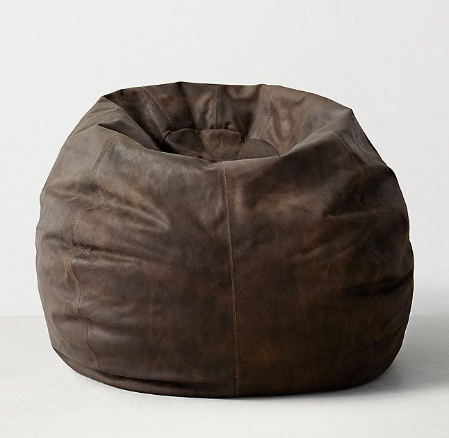 Oversized leather bean bag a fresh spin on timeless for Hand shaped bean bags