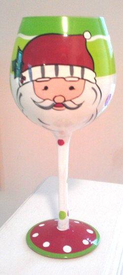 Christmas Wine Glasses - Hand painted Christmas Wine Glasses