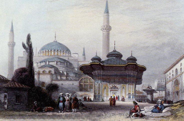 Ayasofya Camii ve 3. Ahmet Çeşmesi - Thomas Allom