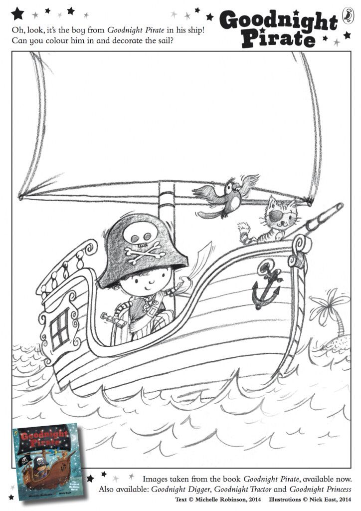 Colour in the little pirate and make the galleon ship-shape!