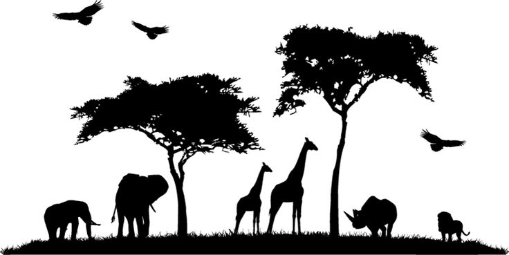 Wall Decals Grand Safari Elephant Giraffe Birds Trees