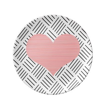 #black - #Heart - geometric  pattern - black and pink. dinner plate