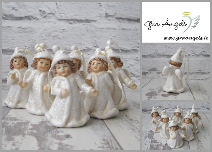 This is a set of six beautiful porcelain Angel tree decorations with bells. Each of these stunning Angel decorations are hand painted and are finished with a beautiful glitter glaze.   Each of these Angel are 7.5cm in height. http://graangels.ie/6-porcelain-angel-tree-decorations-with-bells