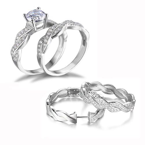 Luxury Infinity Engagement Wedding Jewelry Set