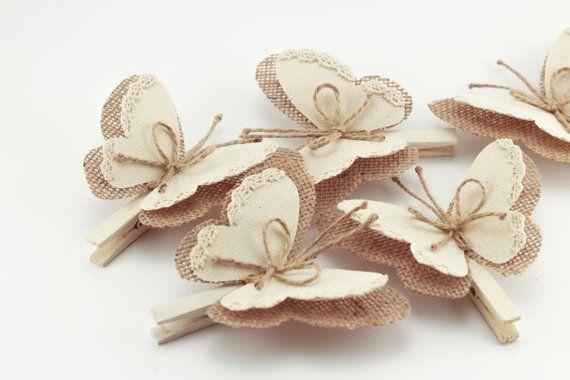 Set of 5 Butterflies Clothes Pins, Decorative Burlap Butterfly Wings, White Cottage Chic Decor, Rustic Wedding Decor, Burlap Ornaments