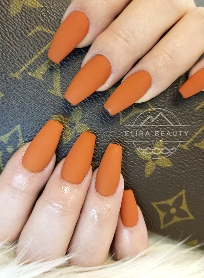 Matte Orange Nail Extensions Perfect Fall Colours In 2020 Orange Acrylic Nails Orange Nails Toe Nail Color
