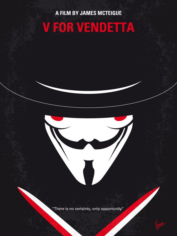 V For Vendetta Vintage Quote Poster Wall Art Print Black /& White Card or Canvas