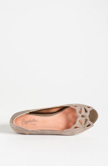 nude peep toe flats