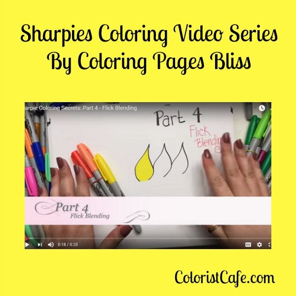 Sharpies Coloring Video Series - Part 4 - Flick Blending  In Part 4 of the Sharpie Coloring Video Series Jennifer demonstrates a very gentle and light flick blending marker technique.  http://coloristcafe.com/1109/sharpies-coloring-video-series-part-4/