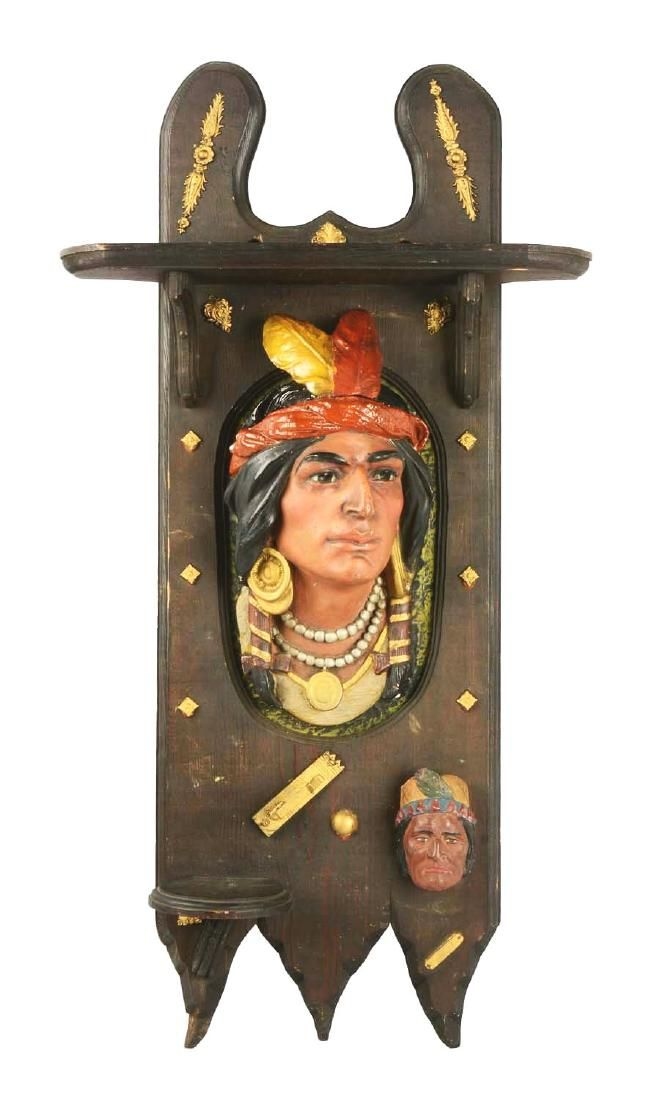 Lot: Circa 1900-1910 Cigar Store Indian Wall Hanging Tobacco, Lot Number: 0207, Starting Bid: $200, Auctioneer: Dan Morphy Auctions, Auction: Premier Native American, Date: May 26th, 2017 EDT