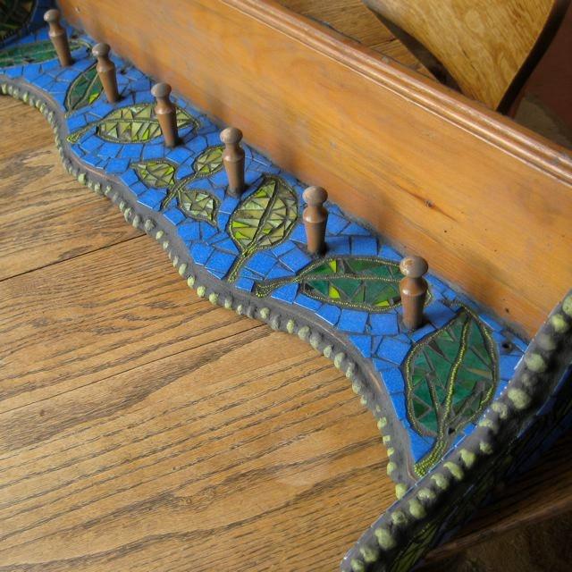 Mosaic RePurposed Vintage Shelf with Pegs Blue by valnorthwoods