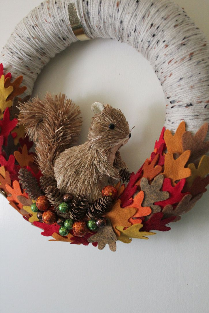 Squirrel Wreath, like the white and black textured yarn--really makes it look like birch!