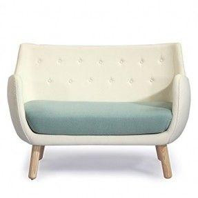 Kardiel 1946 Parlor Mid-century Modern Sofa, Beige/ Surf Green Cashmere Wool