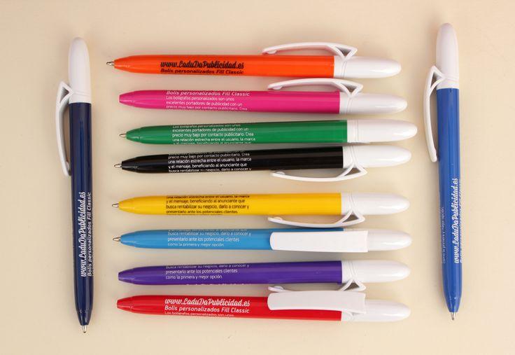 Bolígrafos personalizados Fill Classic mediante serigrafía circular a 1 tinta, trabajo realizado por LaduDa Publicidad http://www.ladudapublicidad.es/tienda/boligrafos-personalizados/bolis-personalizados-fill-classic/